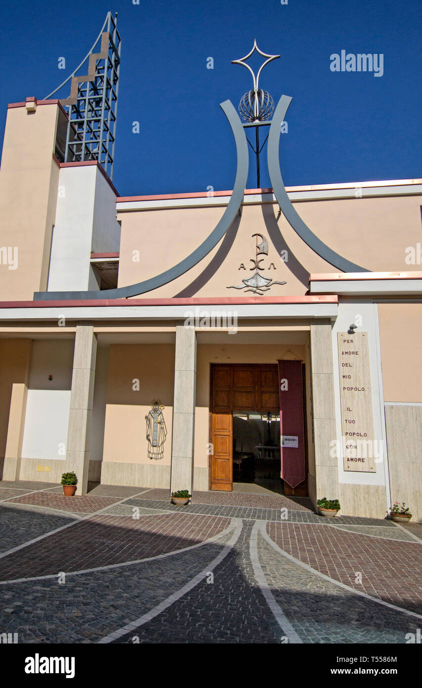 Church of San Nicola di Bari, here was killed don Giuseppe Diana on March 19, 1994  by the Camorra. - Stock Image