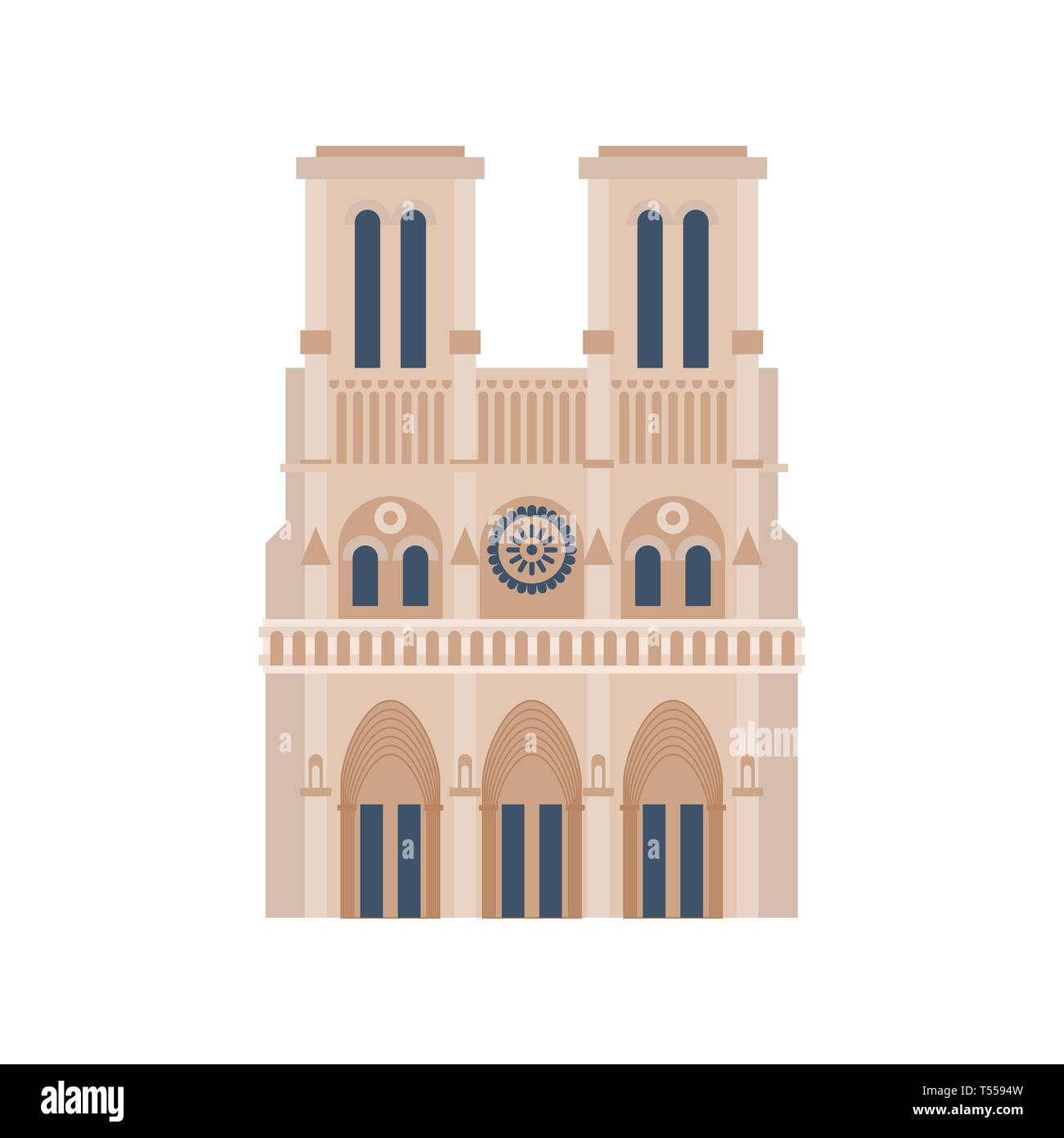 Notre Dame de Paris isolated. historic building in France. - Stock Image