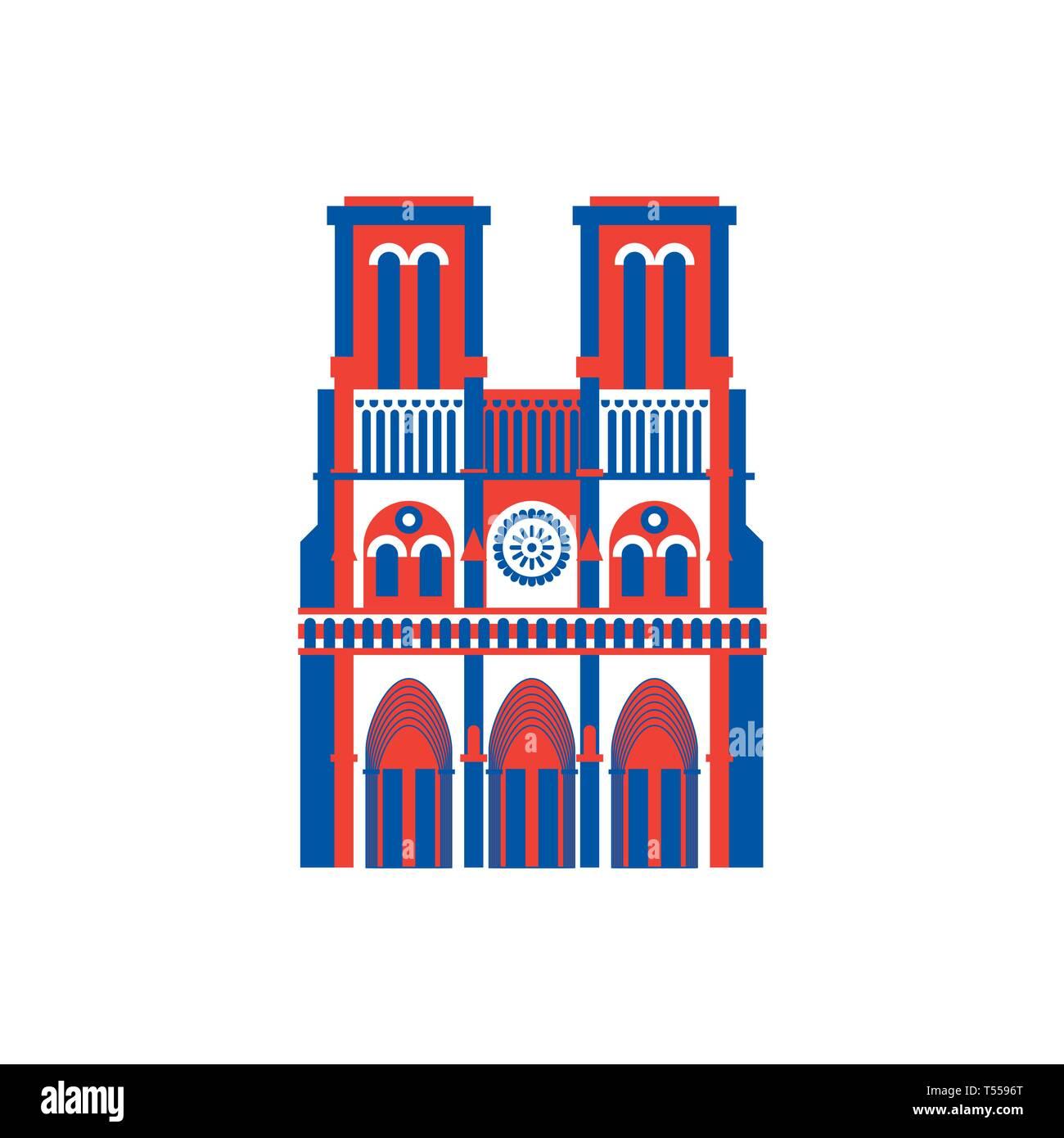 Notre Dame de Paris icon. historic building in France. - Stock Image