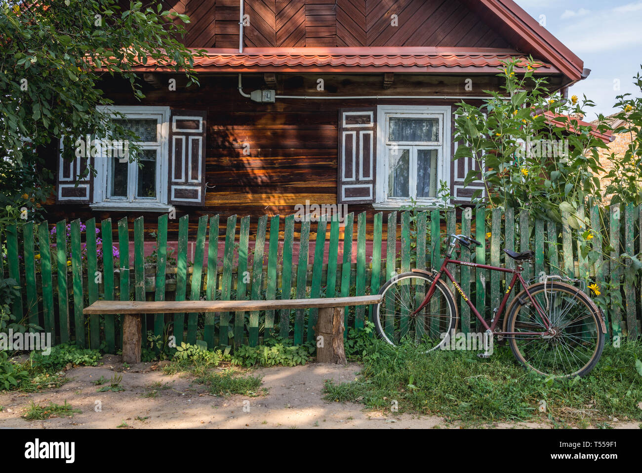 House in Soce village on so called The Land of Open Shutters trail, famous for traditional architecture in Podlaskie Voivodeship, Poland - Stock Image