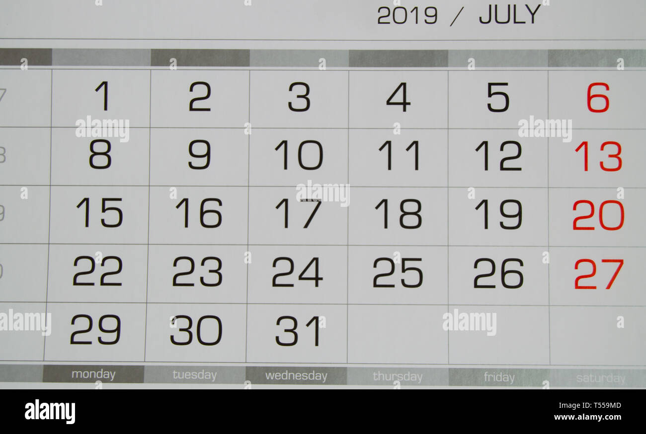 July 2019 Calendar Stock Photos & July 2019 Calendar Stock Images