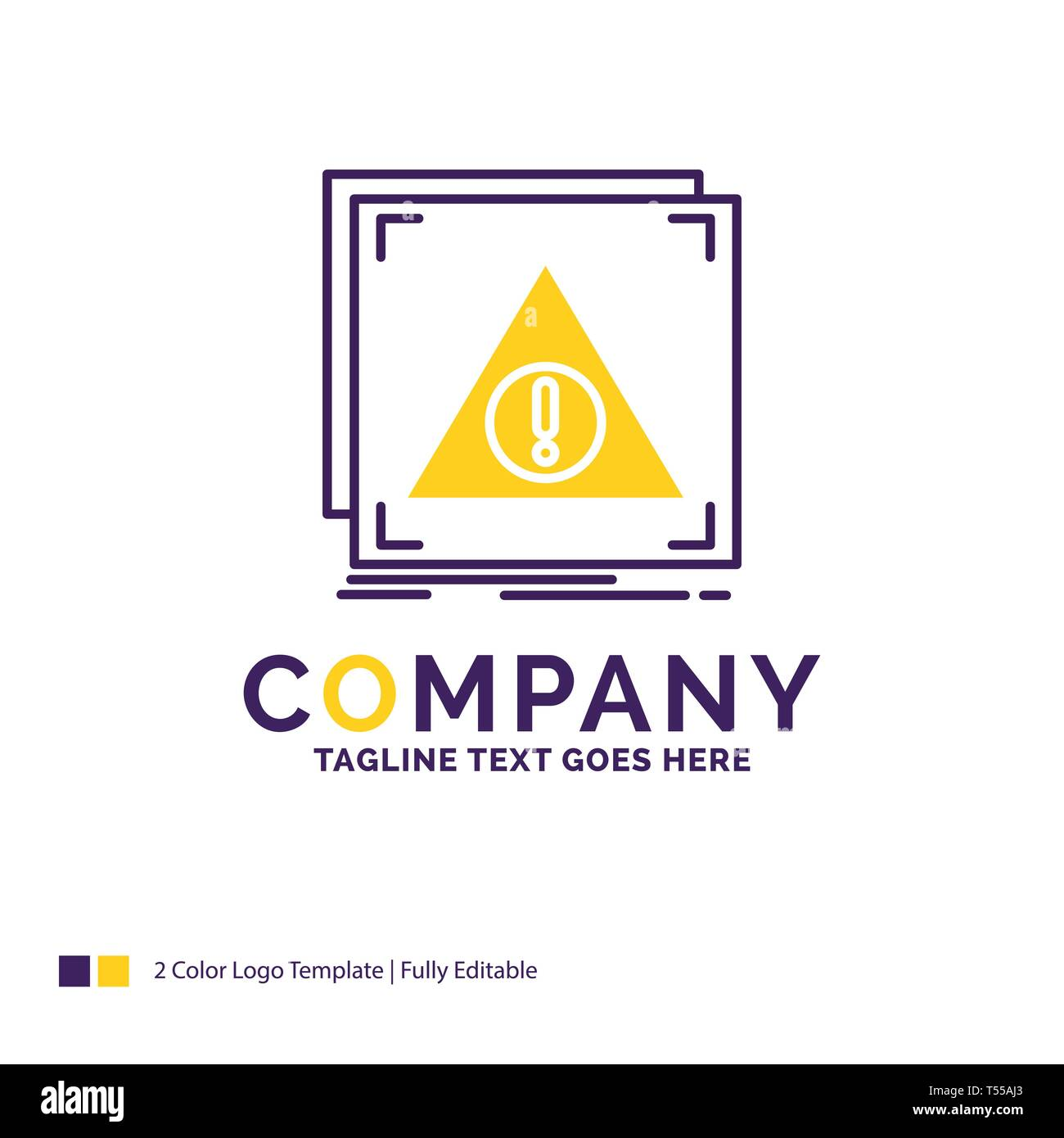 Company Name Logo Design For Error, Application, Denied, server, alert. Purple and yellow Brand Name Design with place for Tagline. Creative Logo temp - Stock Image