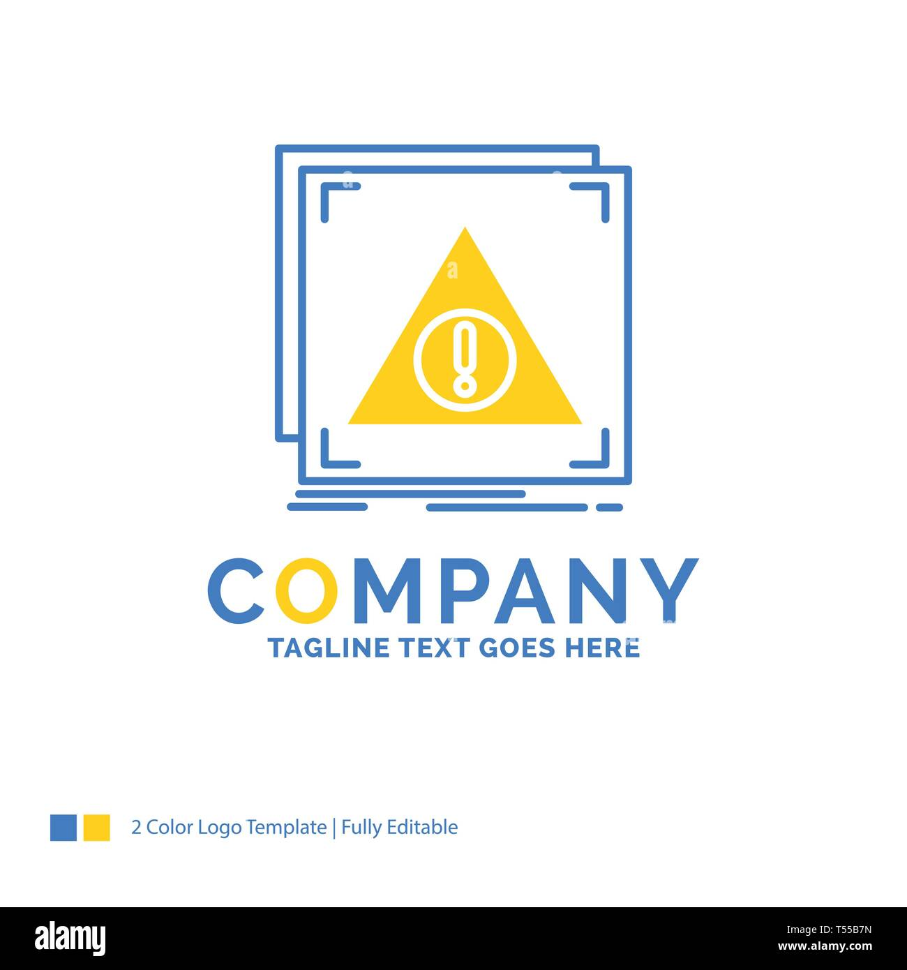 Error, Application, Denied, server, alert Blue Yellow Business Logo template. Creative Design Template Place for Tagline. - Stock Image