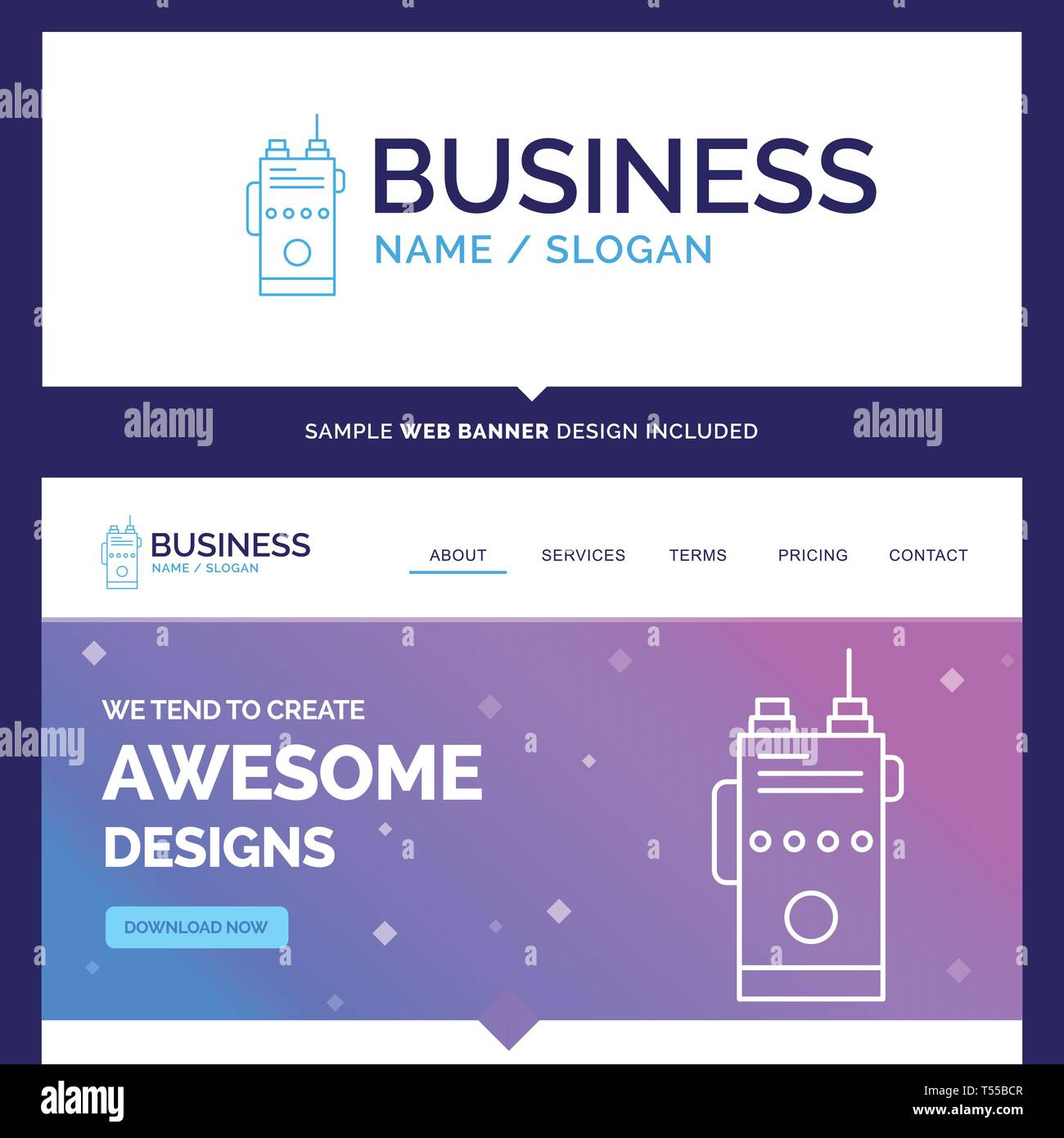 Beautiful Business Concept Brand Name Walkie Talkie Communication Radio Camping Logo Design And Pink And Blue Background Website Header Design Tem Stock Vector Art Illustration Vector Image 244137175 Alamy