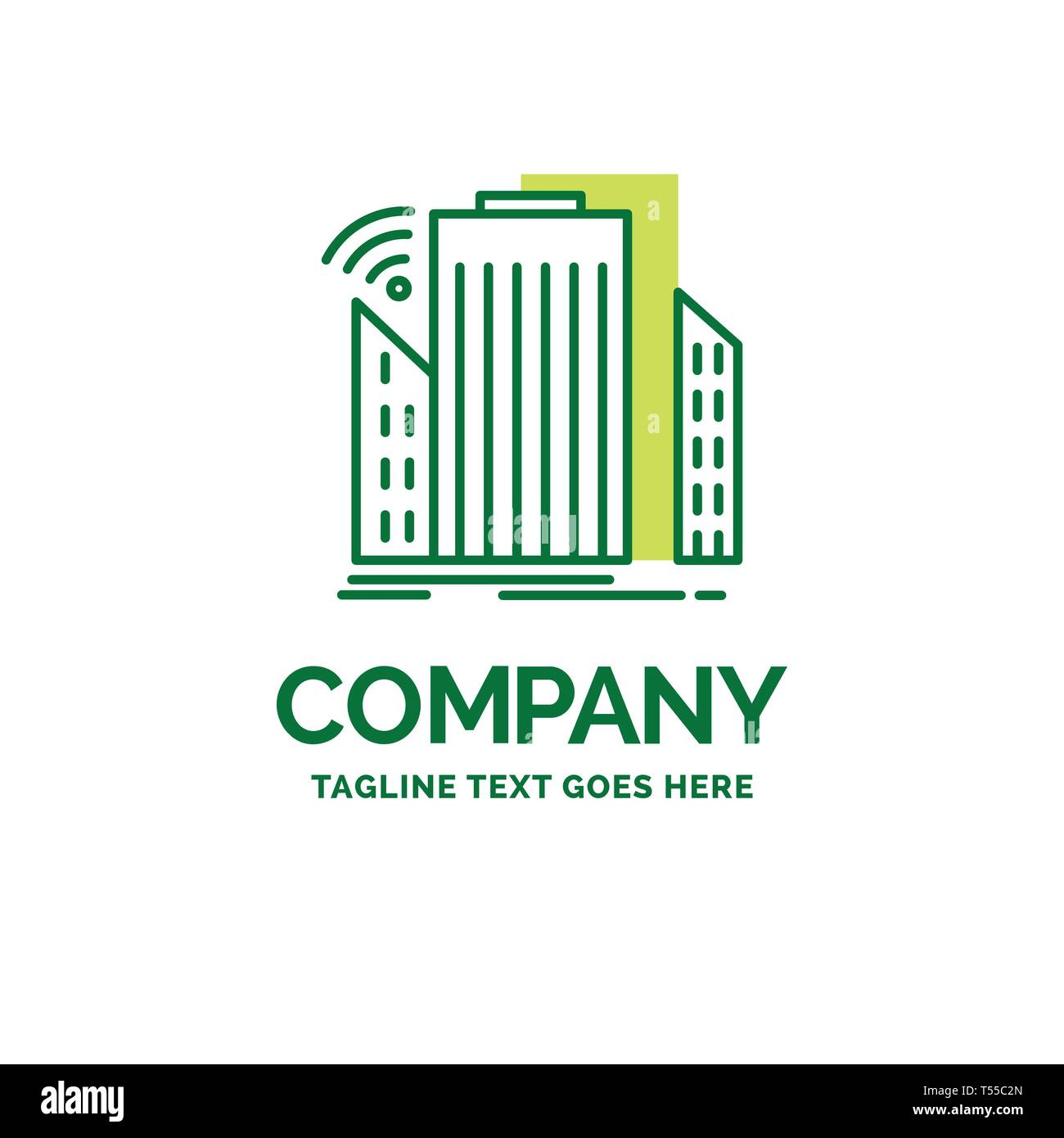 Buildings, city, sensor, smart, urban Flat Business Logo template. Creative Green Brand Name Design. - Stock Vector