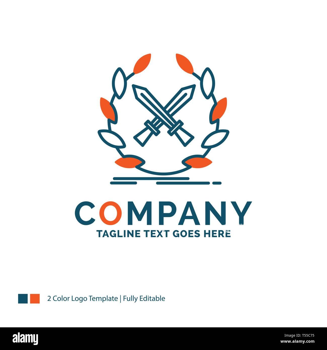 battle, emblem, game, label, swords Logo Design. Blue and Orange Brand Name Design. Place for Tagline. Business Logo template. - Stock Image