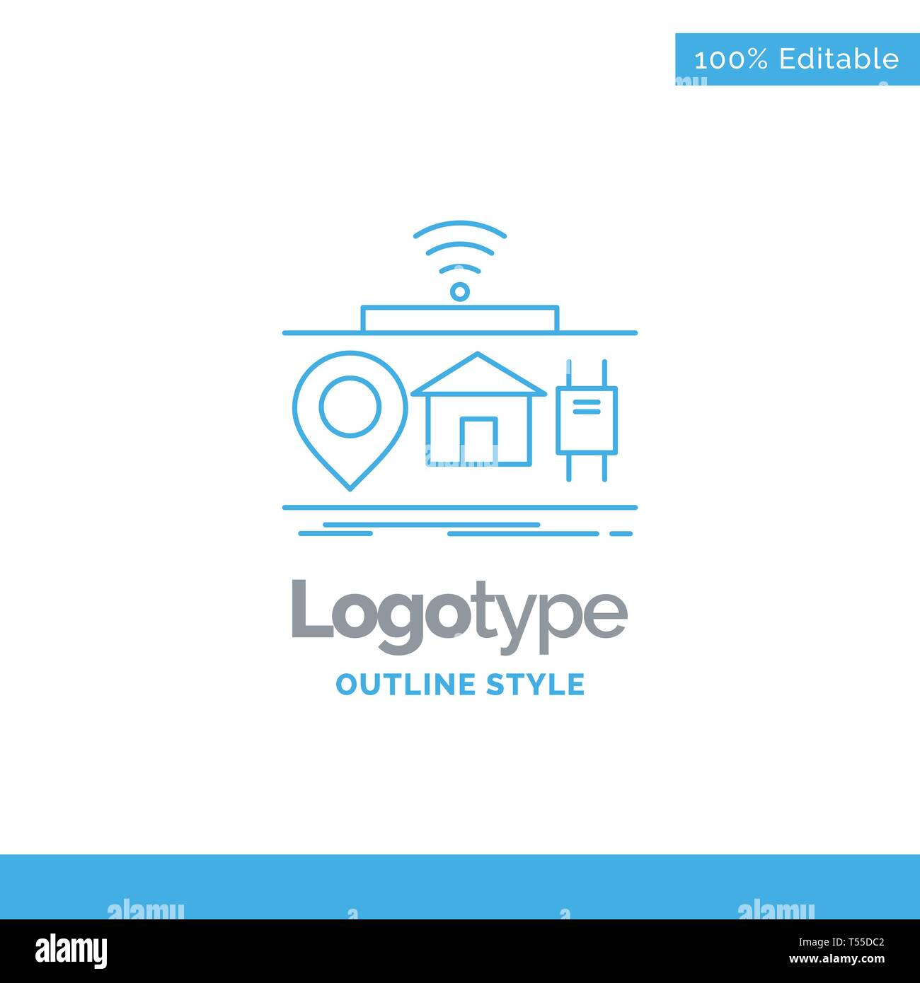 Blue Logo design for IOT, gadgets, internet, of, things