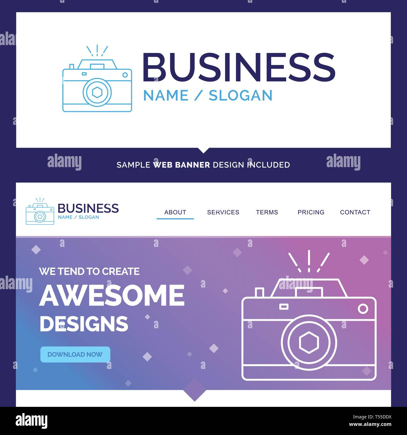 Beautiful Business Concept Brand Name Camera, photography, capture, photo, aperture Logo Design and Pink and Blue background Website Header Design tem - Stock Vector
