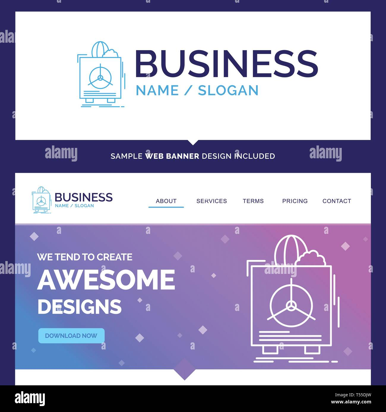 Beautiful Business Concept Brand Name insurance, Fragile, product, warranty, health Logo Design and Pink and Blue background Website Header Design tem - Stock Image