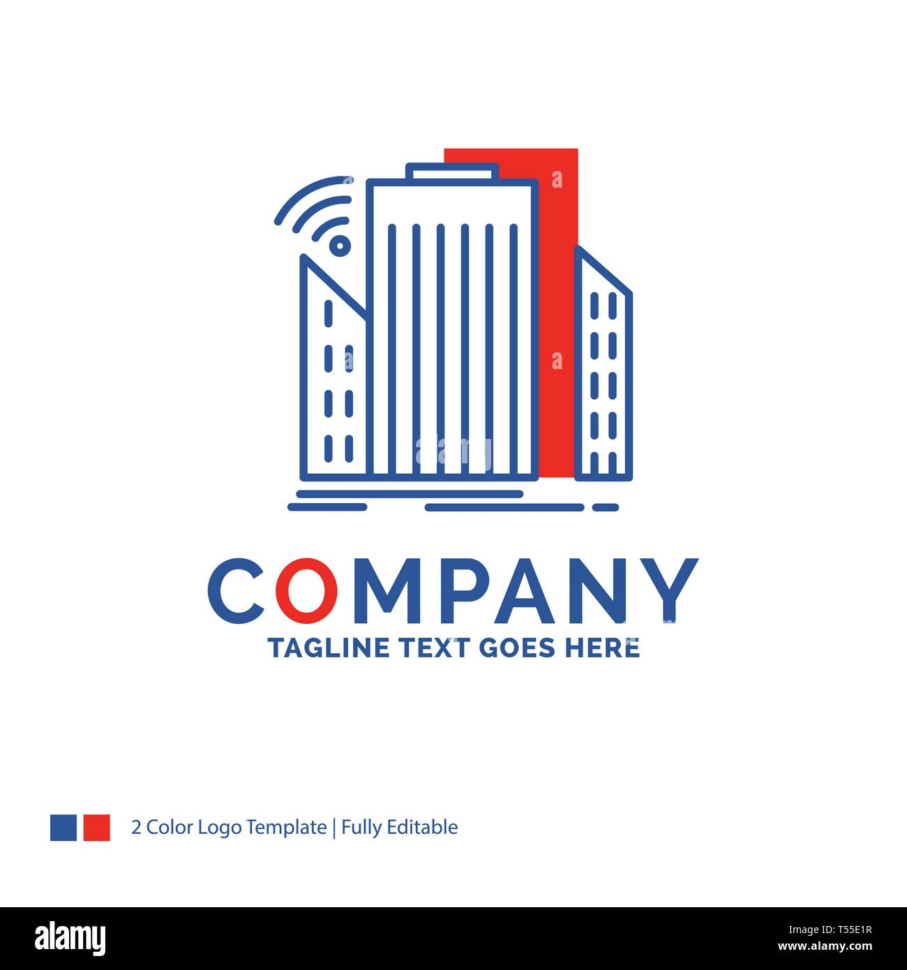 Company Name Logo Design For Buildings, city, sensor, smart, urban. Blue and red Brand Name Design with place for Tagline. Abstract Creative Logo temp - Stock Image