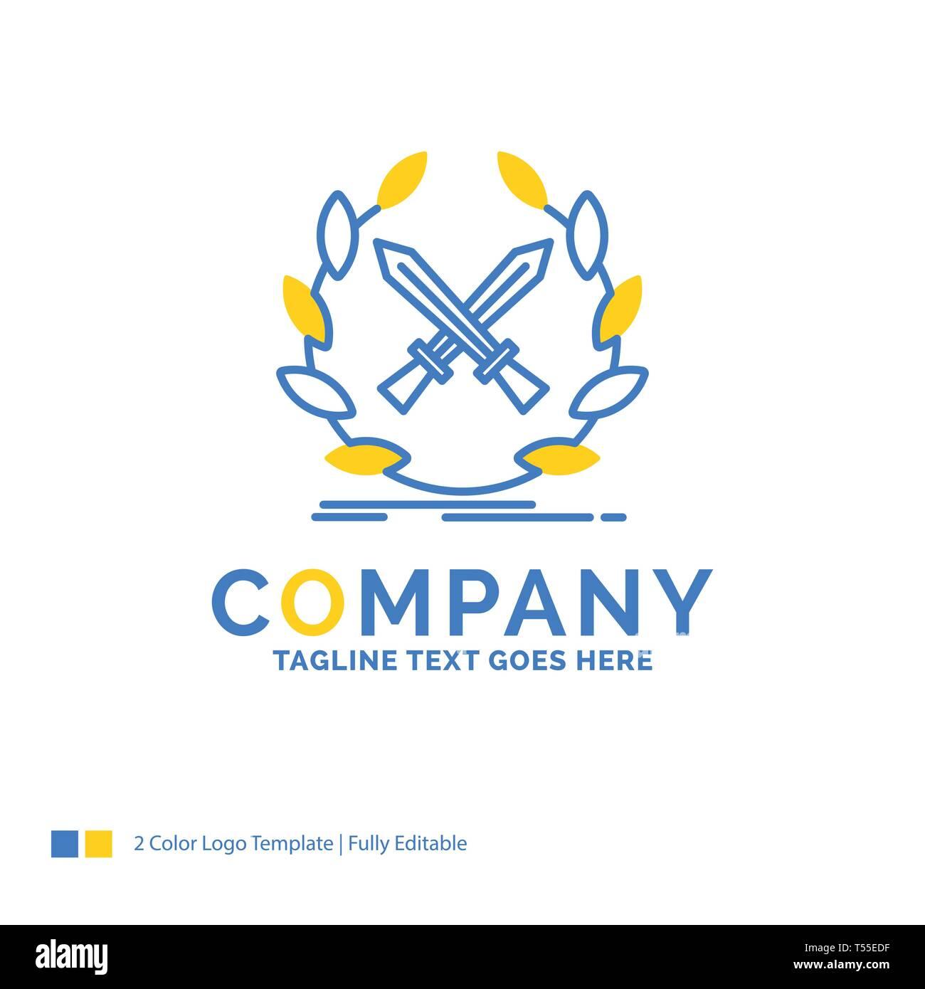 battle, emblem, game, label, swords Blue Yellow Business Logo template. Creative Design Template Place for Tagline. - Stock Image