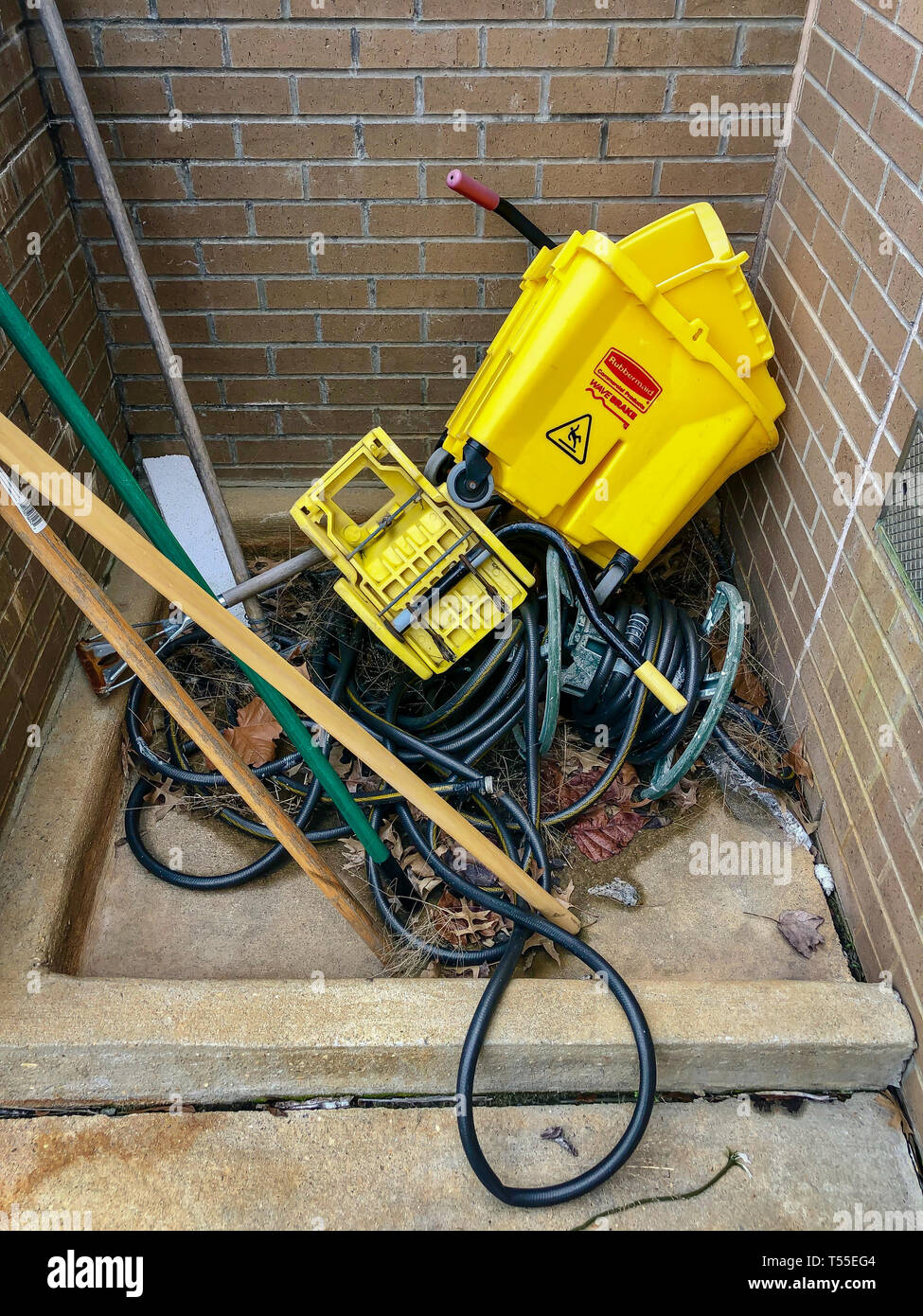 Outdoor Janitorial station in equipment disorderly Stock Photo