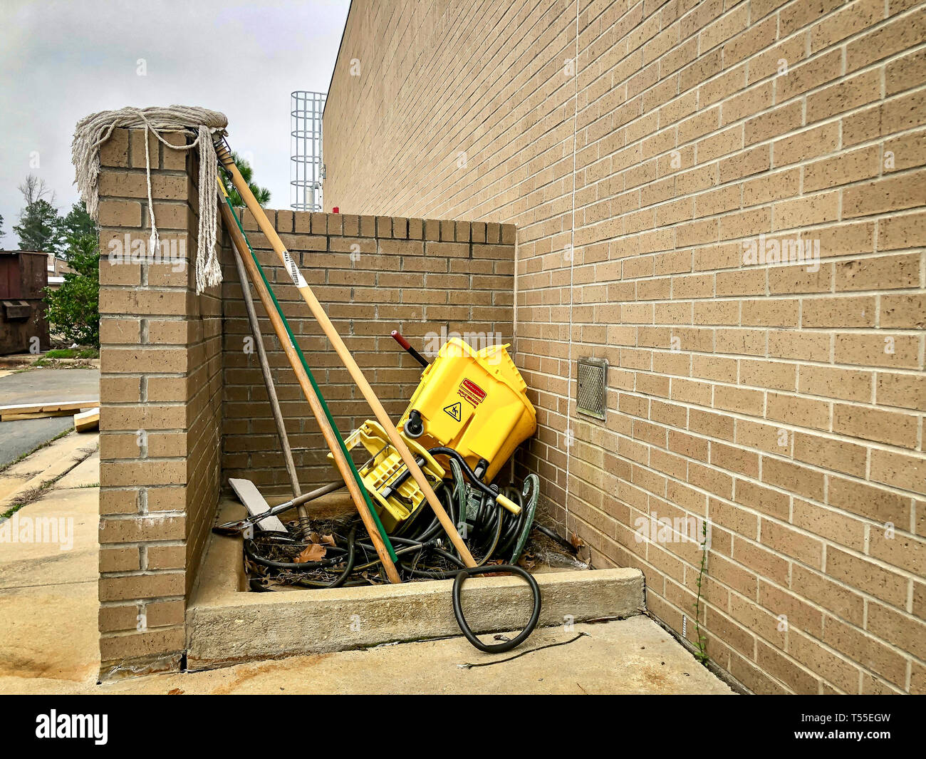 Outdoor Janitorial station in disarray mess Stock Photo
