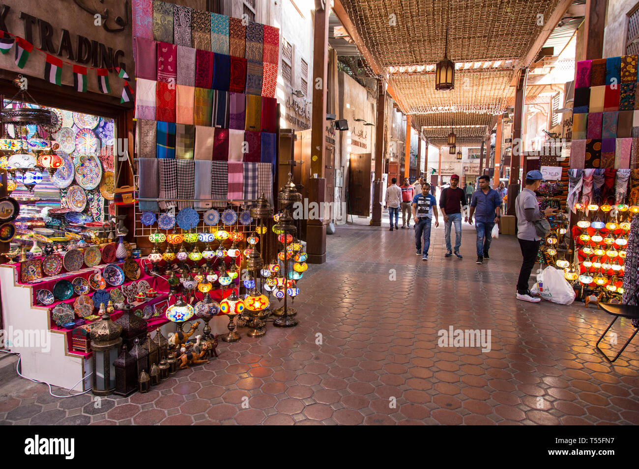 UAE, Dubai, Deira Old Town, Gold and Spice Souq Stock Photo