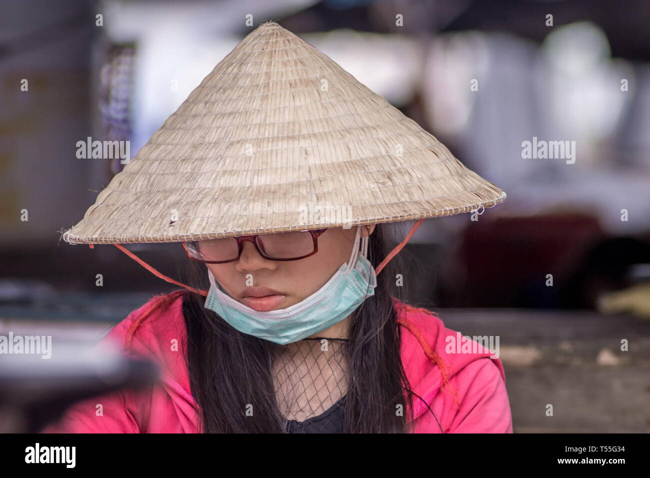 Portrait o a young Vietnamese woman wearing traditional conical hat Stock Photo