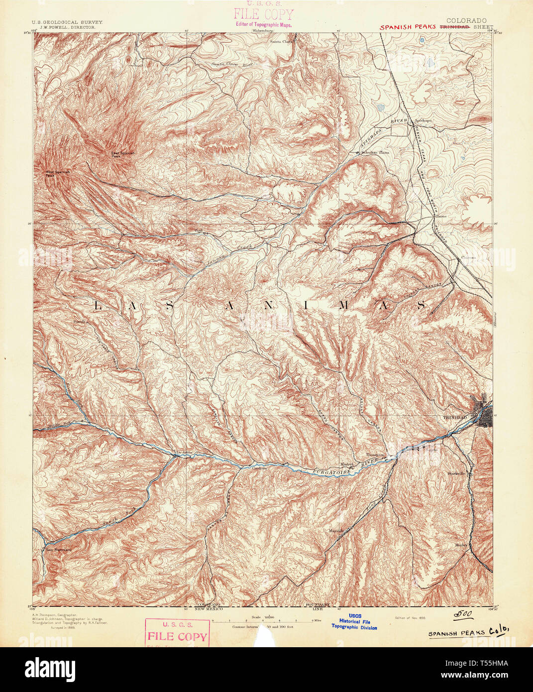 USGS TOPO Map Colorado CO Spanish Peaks 234497 1893 125000 ... Map Of Trinidad In Spanish on map of spanish caribbean, map of sir francis drake, map of spanish conquest, map of spanish mexico,