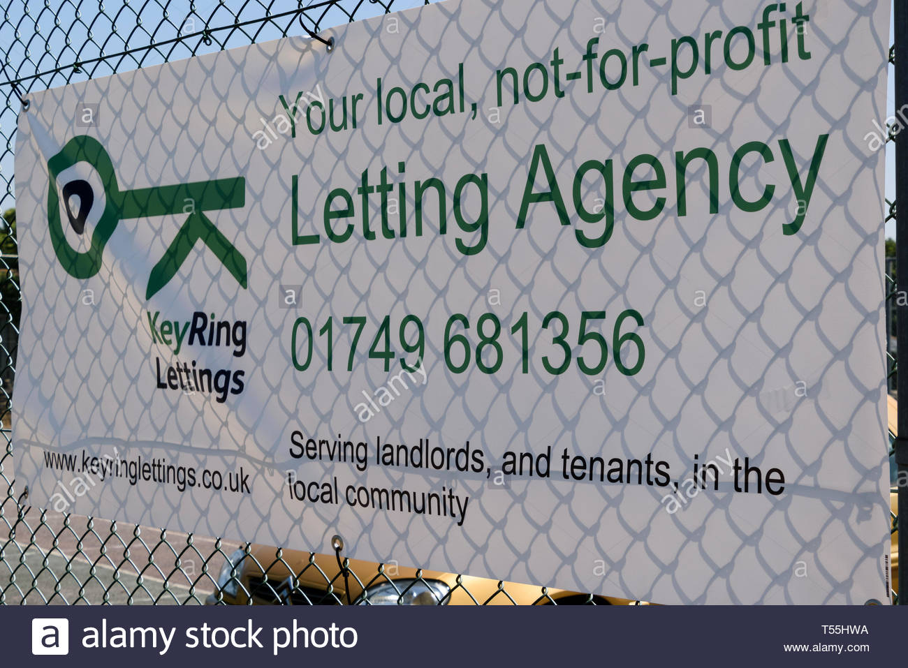 Advertising banner for KeyRing Lettings, a local not - for - profit Letting Agency in Shepton Mallet, Somerset, England, UK - Stock Image