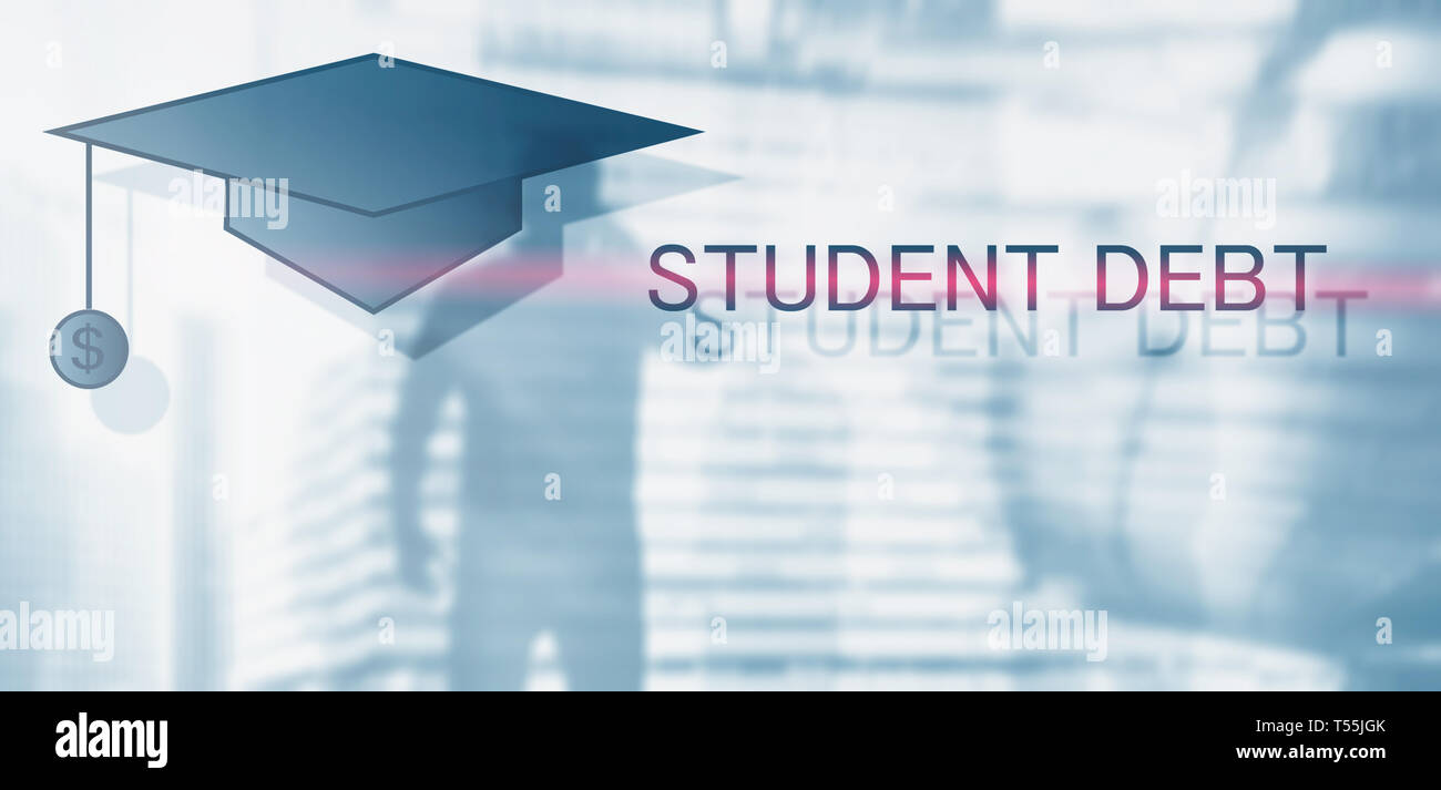 Student debt. Concept education and slavery. Student silhouettes - Stock Image