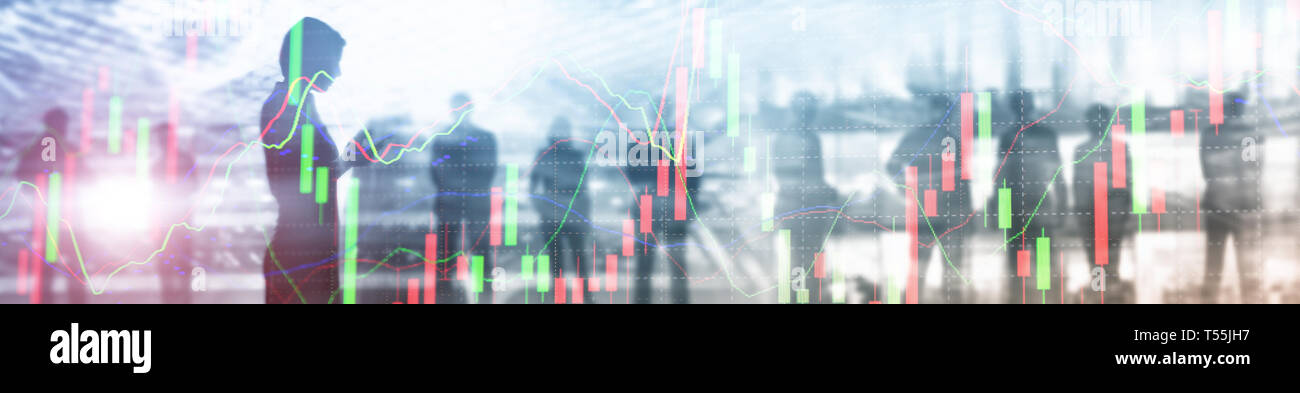 Business Website Banner Header. Industry background mixed media. People silhouettes. Stock market graph. - Stock Image
