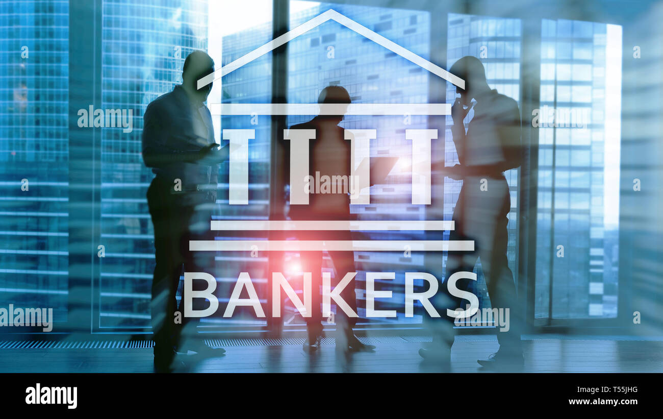 Bankers businessman people on abstract background. Financial concept. - Stock Image