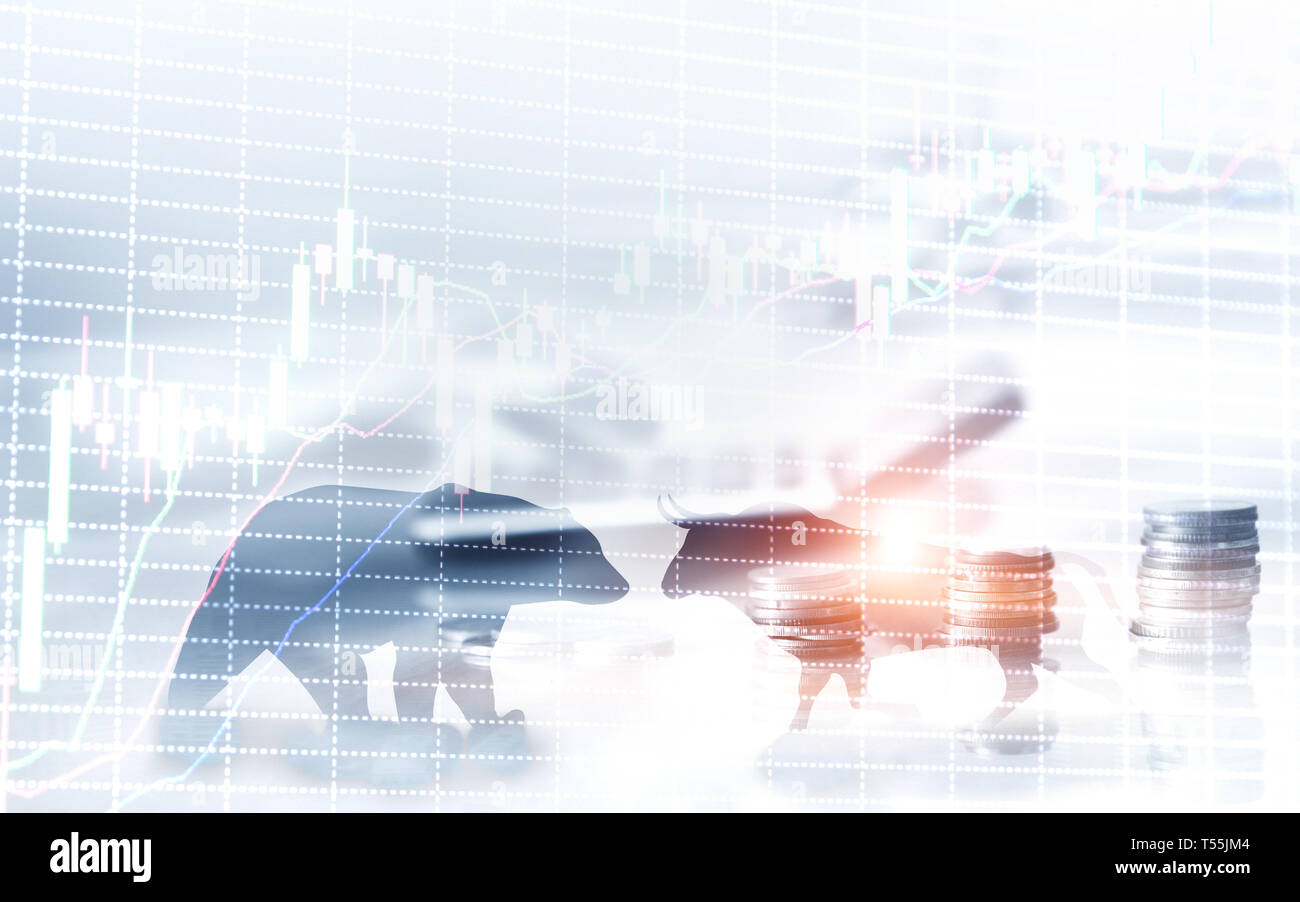 Financial and business abstract background with candle stock graph chart. Bull and bear concept traders concept. Stock Photo
