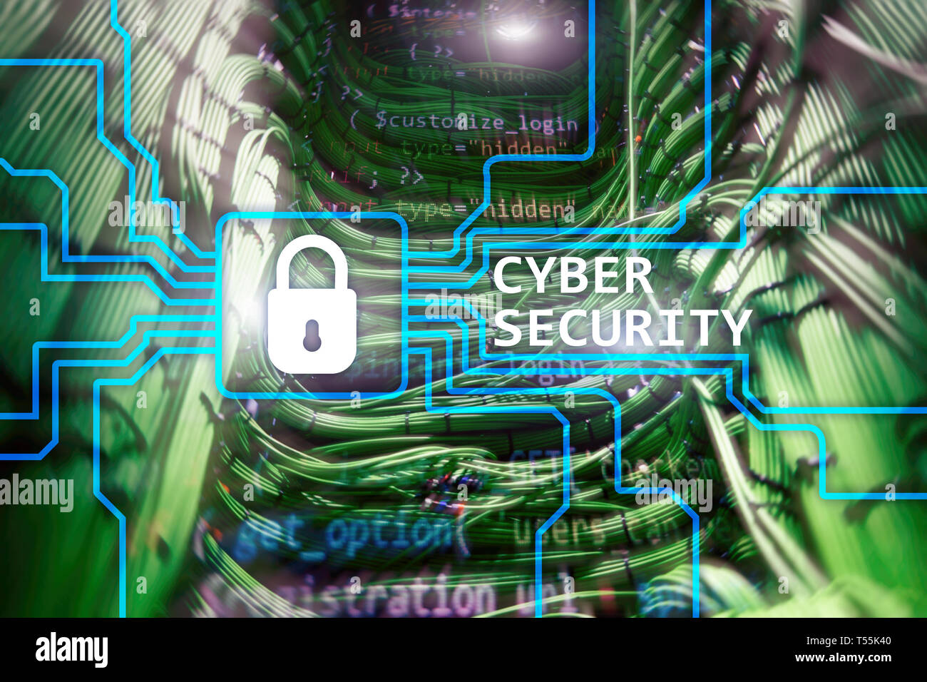 Cyber security, information privacy and data protection concept on server room background. - Stock Image