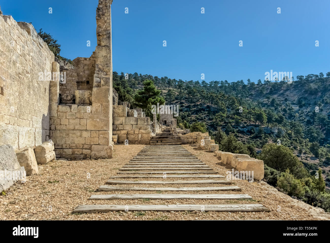 Alahan is a late Roman ecclesiastical complex a monastry built on a series of terraces towards the top of a mountain in southern Anatolia, Turkey - Stock Image