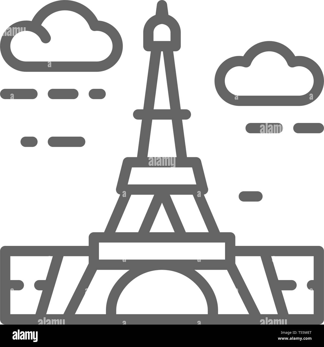 Eiffel Tower, France, landmark line icon. - Stock Vector