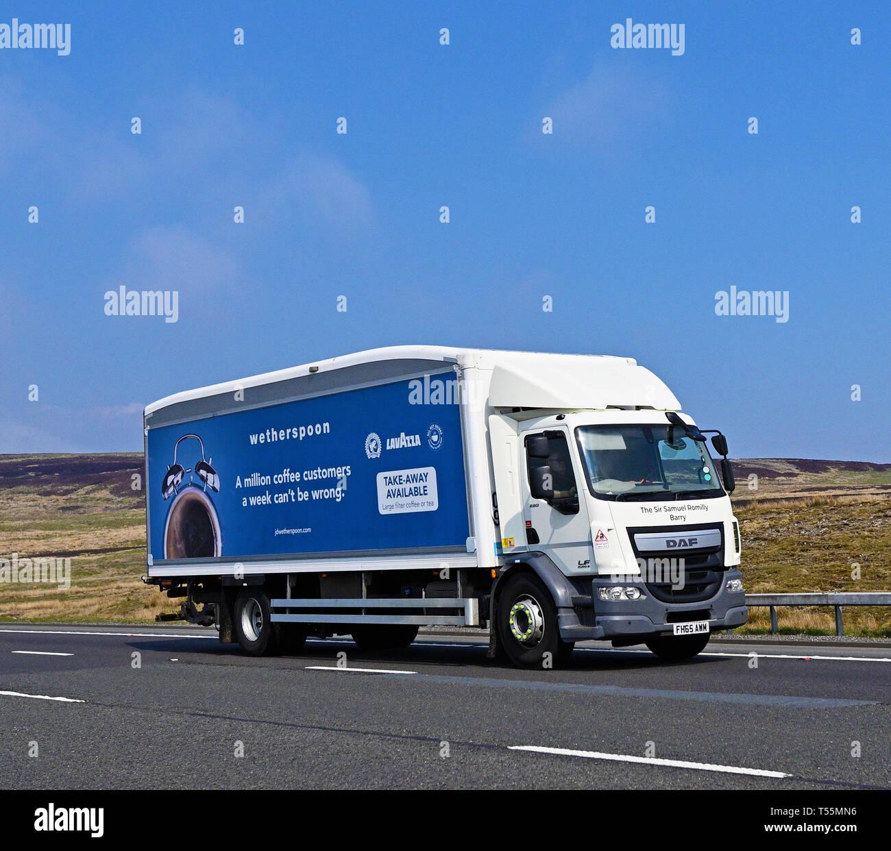 Wetherspoon HGV. M6 Motorway, Southbound, Shap, Cumbria, England, United Kingdom, Europe. - Stock Image