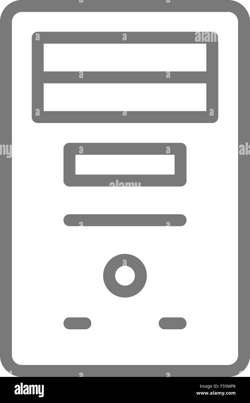 System unit, computer case, console line icon. - Stock Vector