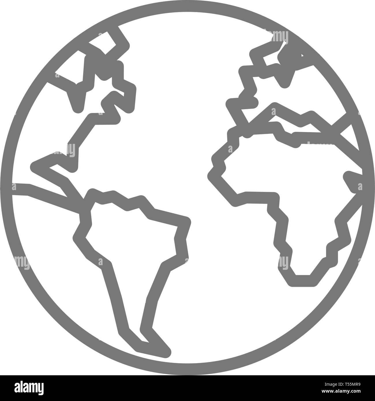 Earth, globe, planet line icon. - Stock Image