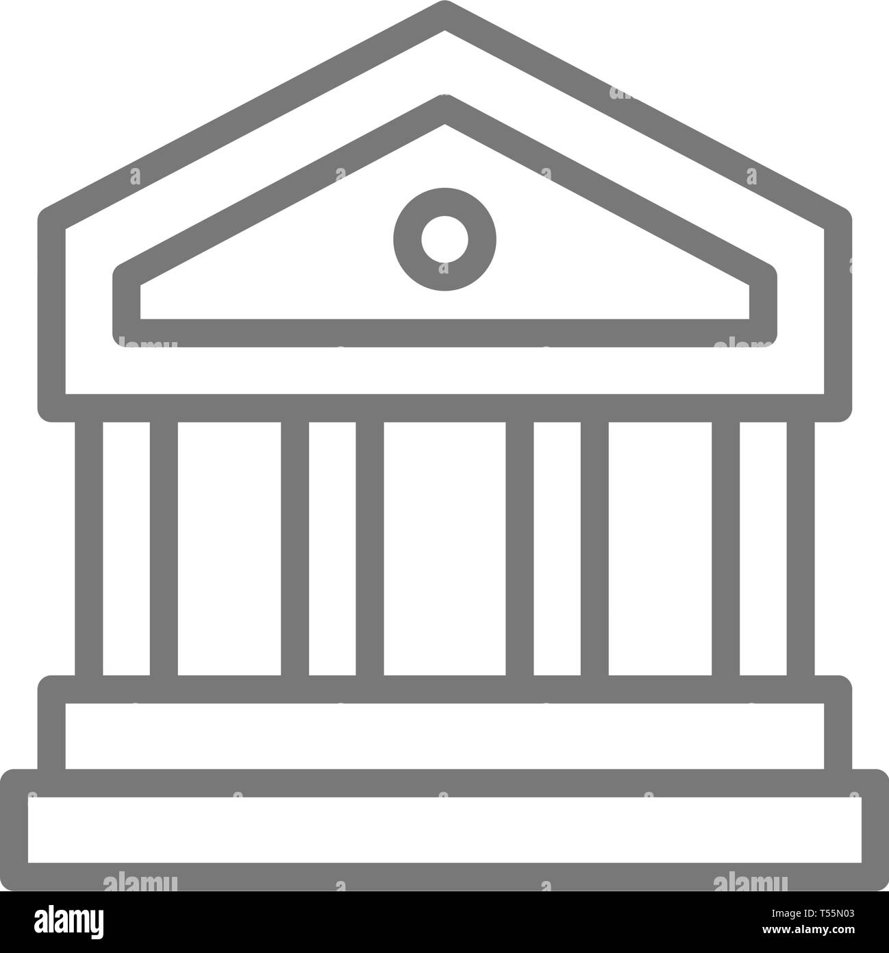 Justice court or bank building line icon. - Stock Vector