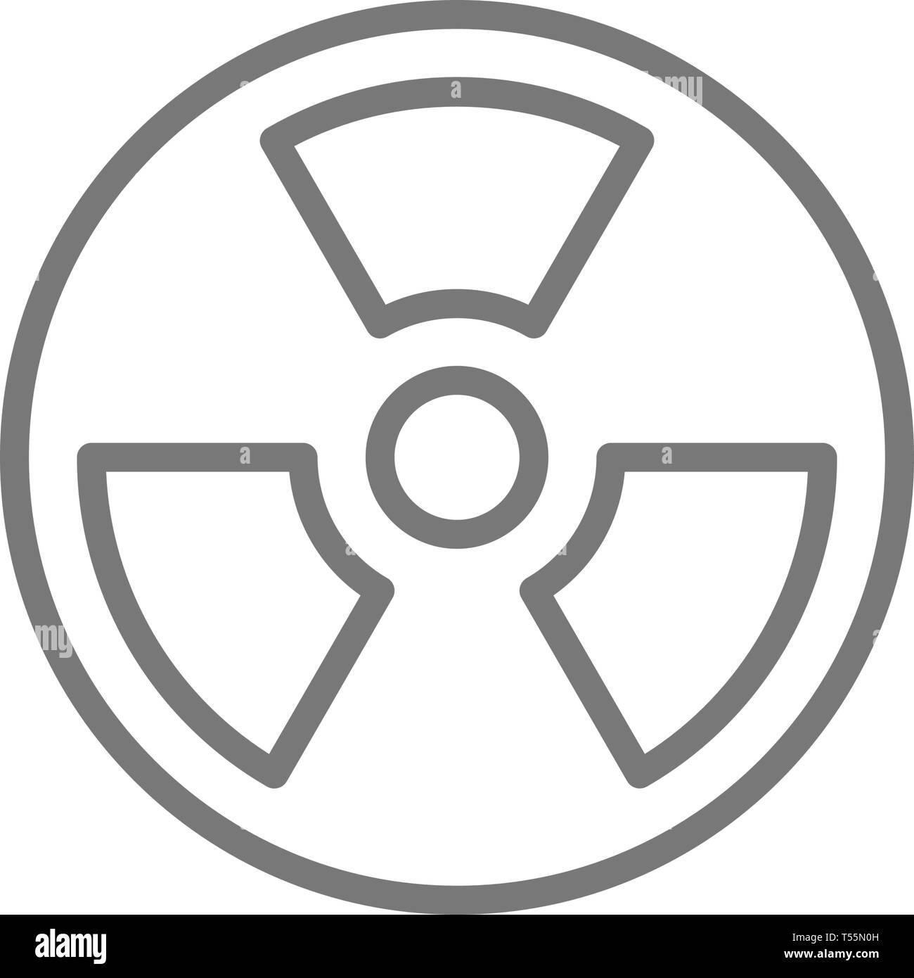 Radiation hazard sign line icon. - Stock Vector