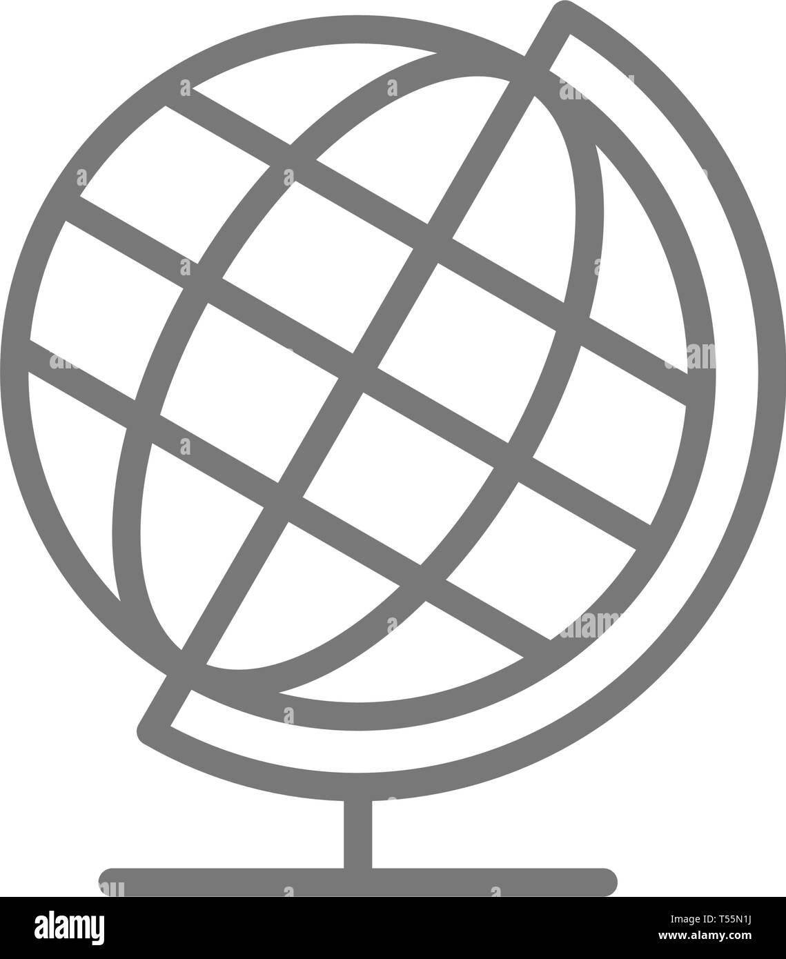 School globe, earth model line icon. - Stock Image