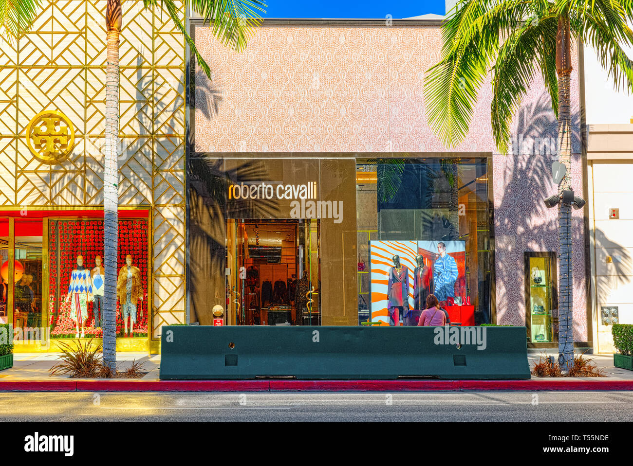 Los Angelos, California, USA - September 23, 2018: View of the fashionable street Rodeo Drive in Hollywood, LA. Stock Photo