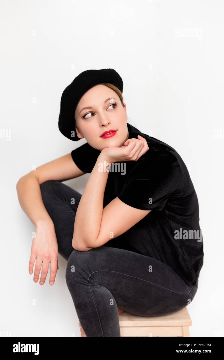 5147e70b31626 Young woman wearing beret and red lipstick Stock Photo  244146496 ...