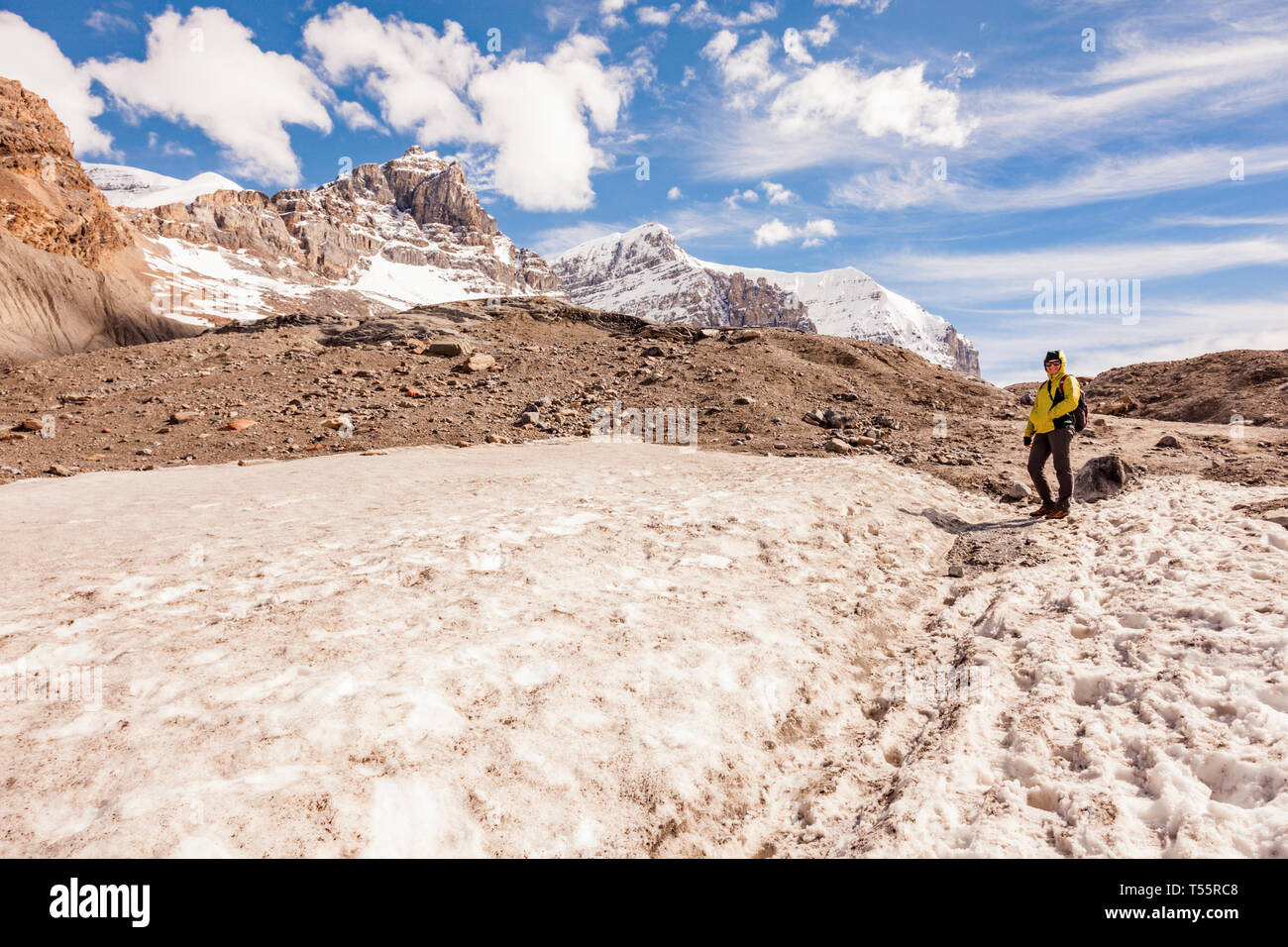 Woman on Athabasca Glacier in Jasper National Park, Alberta, Canada - Stock Image