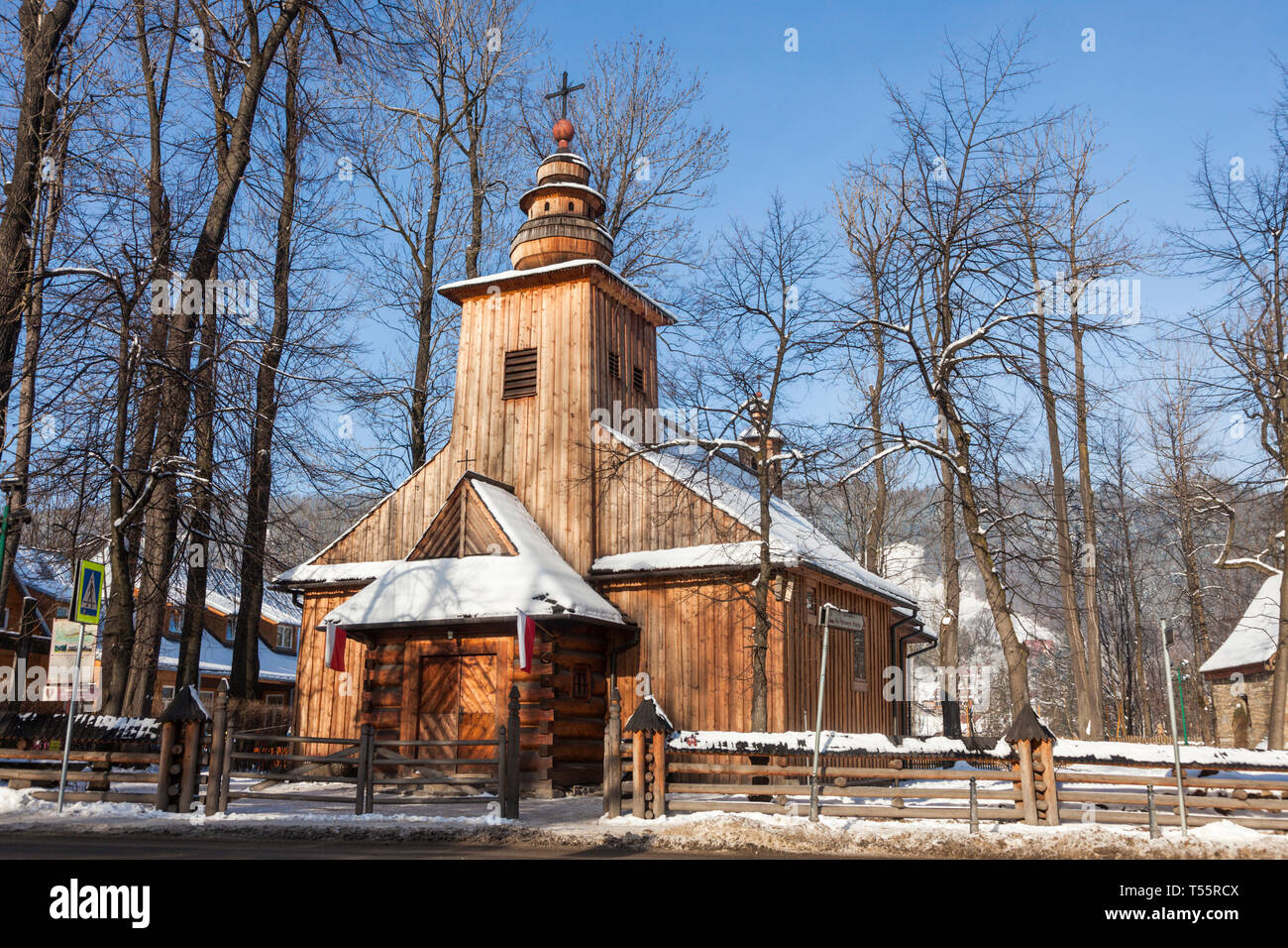 Church of Our Lady of Czestochowa during winter in Zakopane, Poland - Stock Image