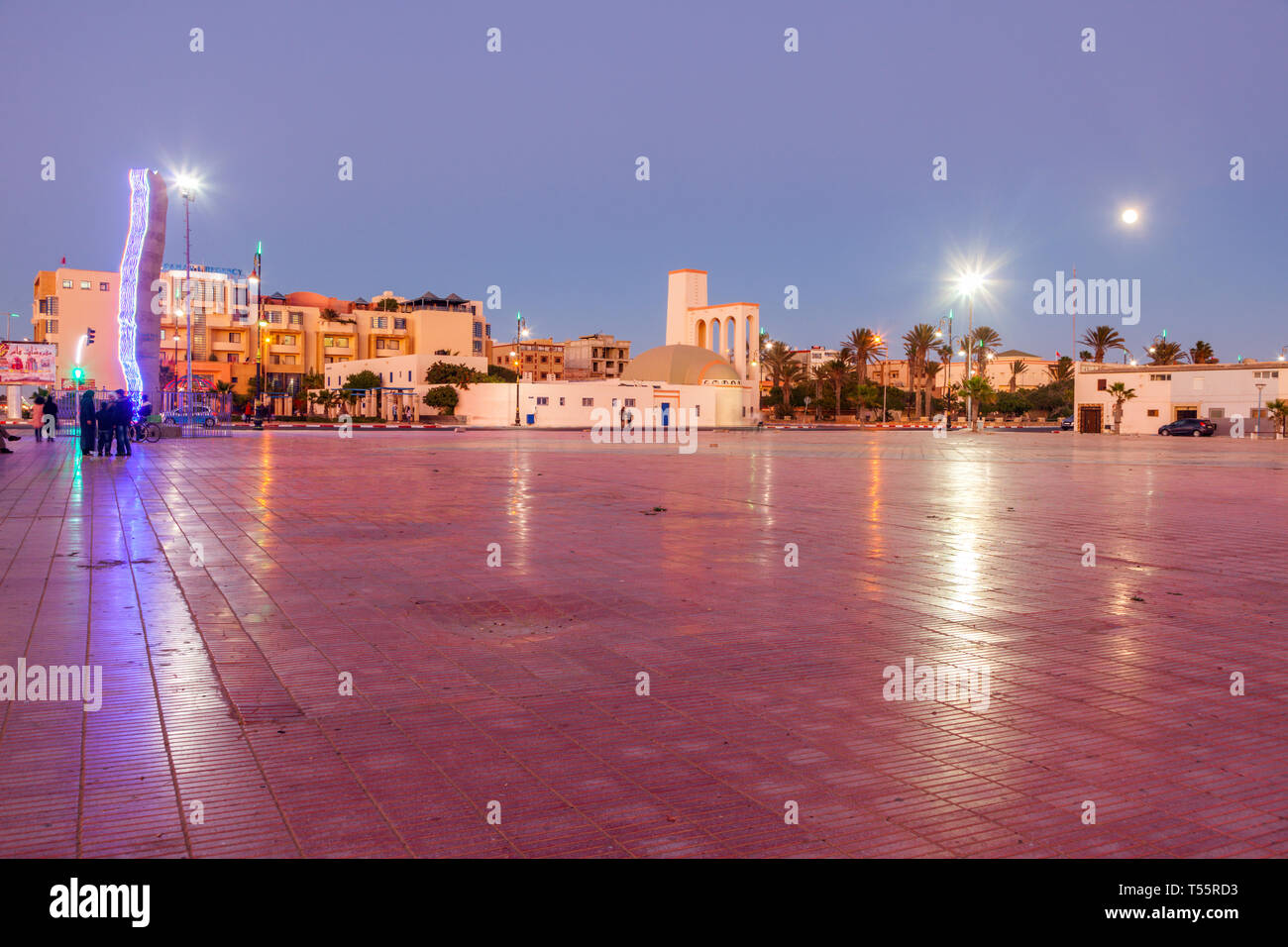 Town square at sunset in Dakhla, Morocco - Stock Image