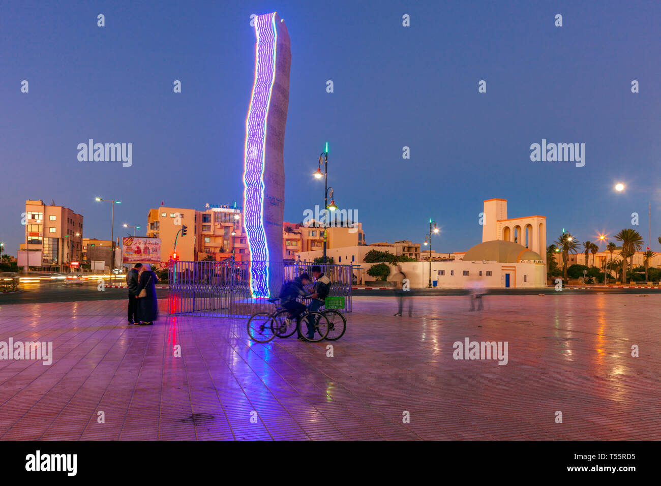 Modern sculpture in town square at sunset in Dakhla, Morocco - Stock Image