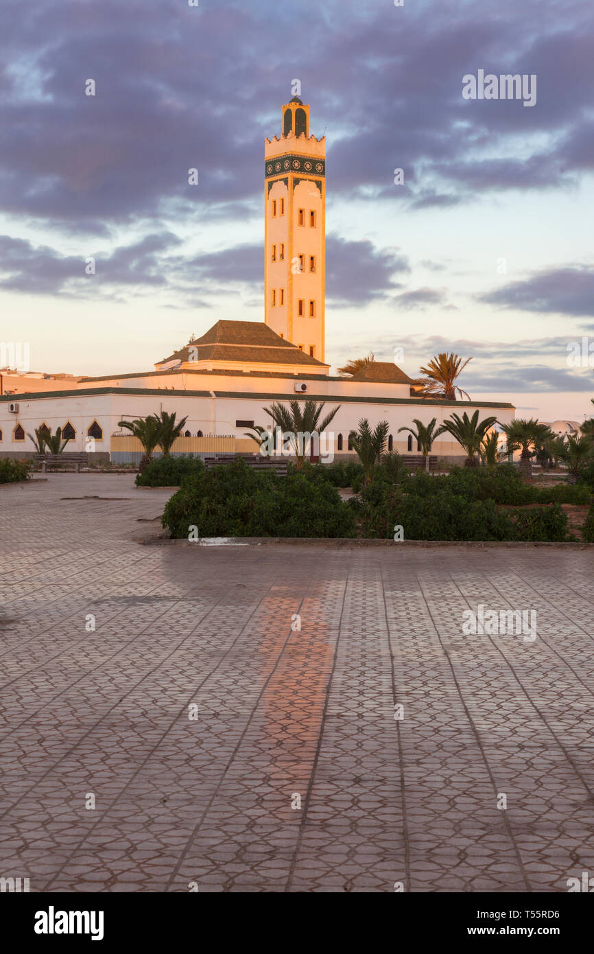Eddarham Mosque at sunset in Dakhla, Morocco - Stock Image