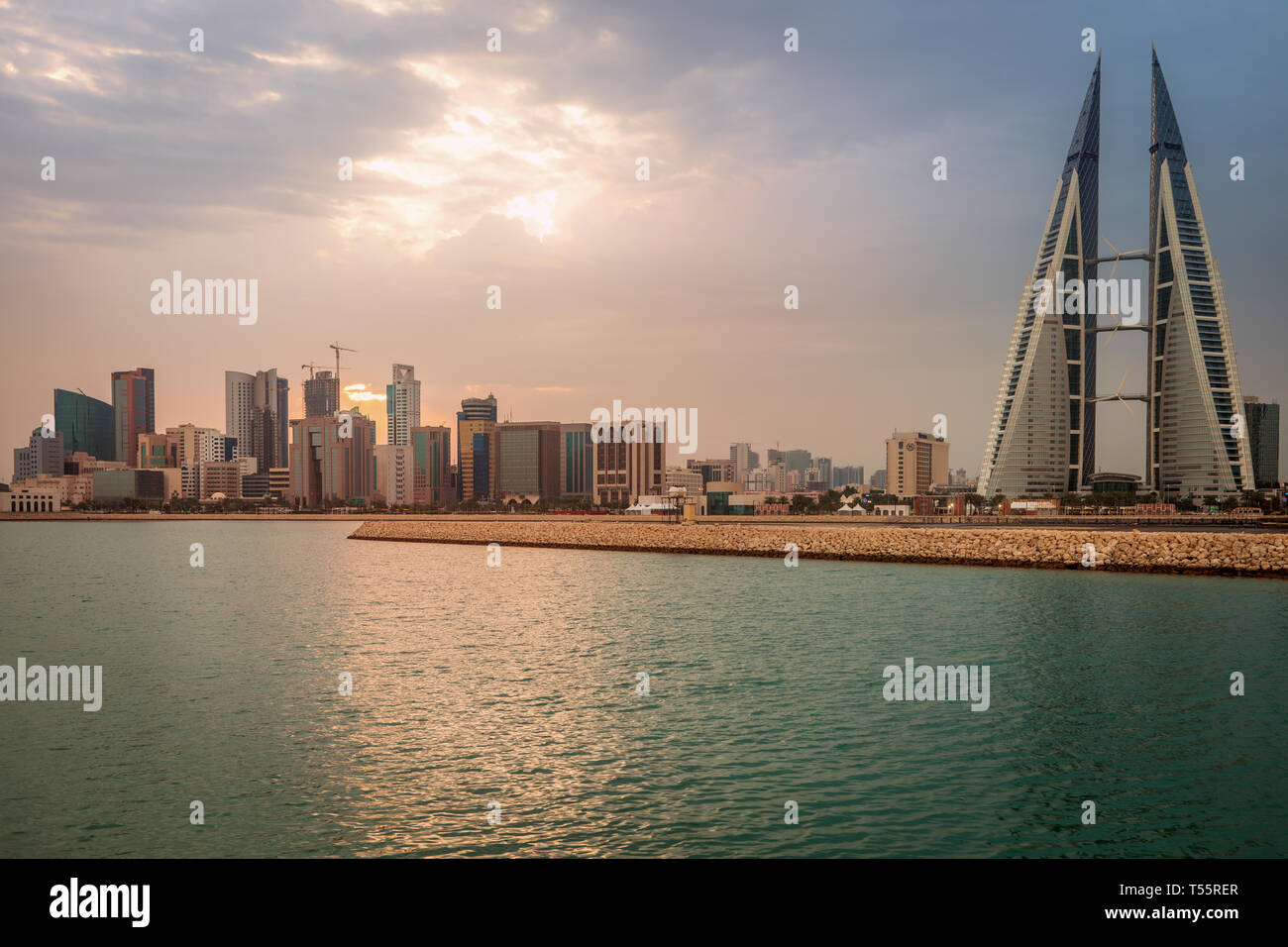 Skyline with Bahrain World Trade Center in Manama, Bahrain - Stock Image