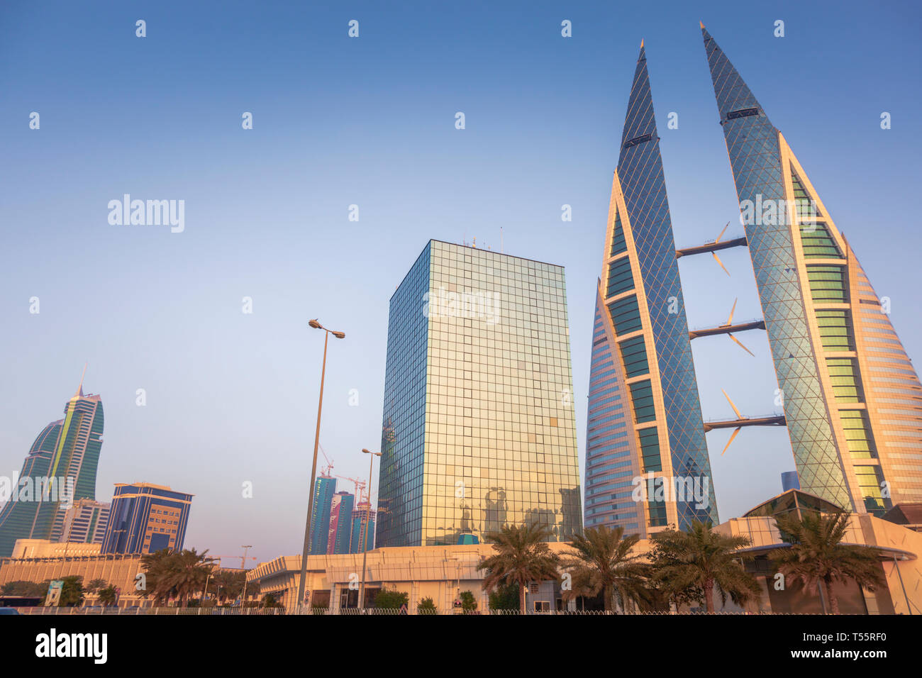 Low angle view of Bahrain World Trade Center in Manama, Bahrain - Stock Image