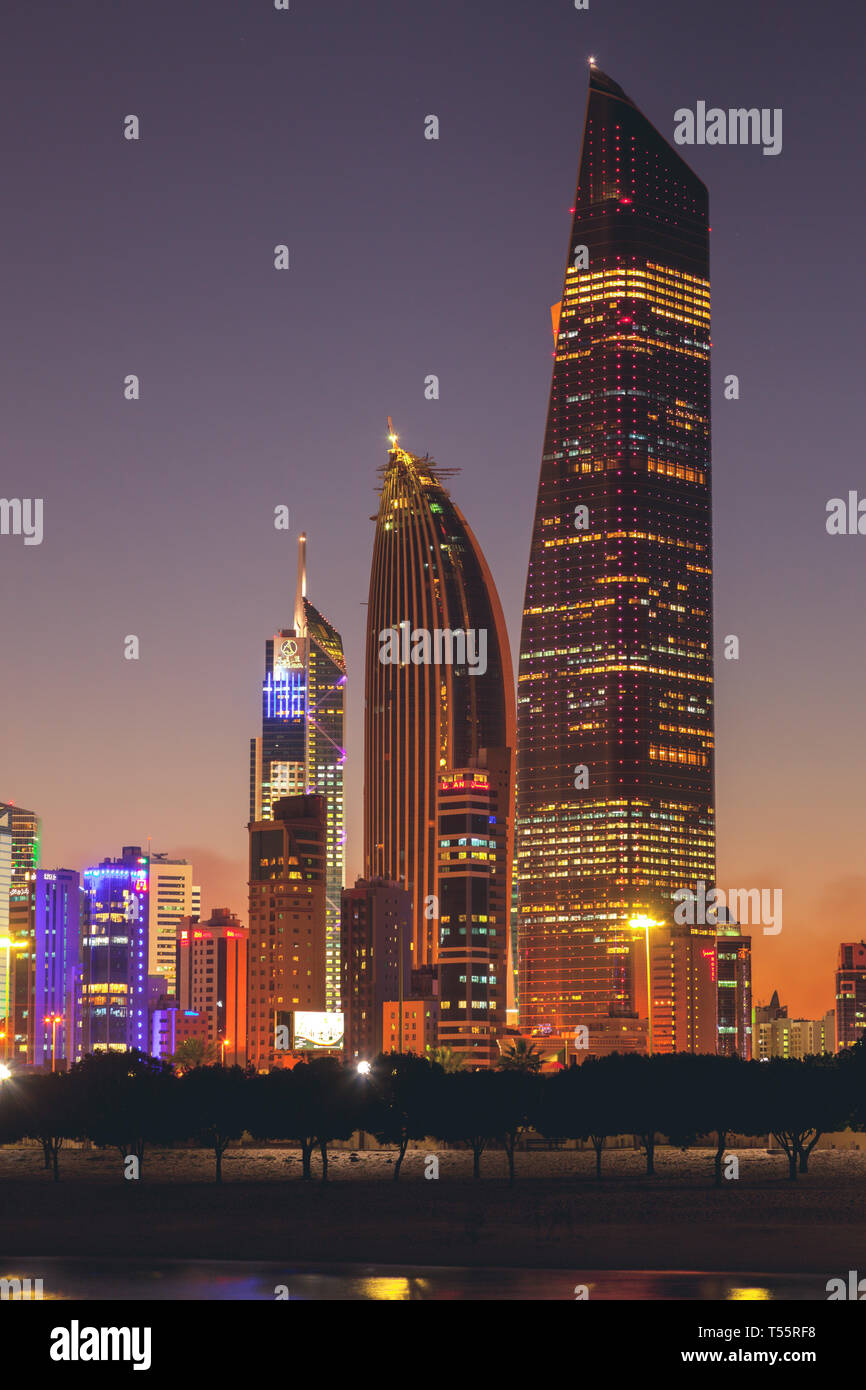 Skyline at sunset in Kuwait City, Kuwait - Stock Image