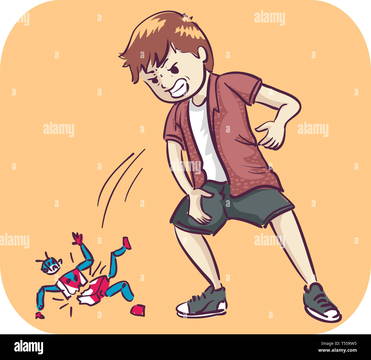 Illustration Of A Kid Boy Throwing A Toy Hard On The Floor Breaking It In An Emotional And Angry Outburst Stock Photo Alamy