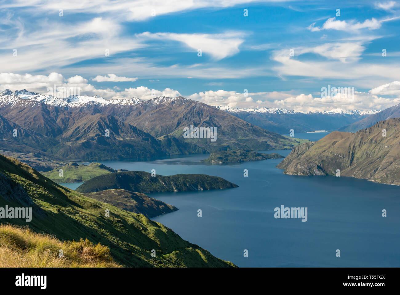 Mountains by Lake Wanaka in New Zealand Stock Photo
