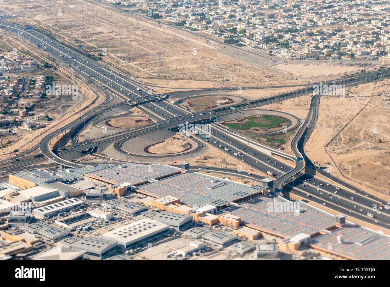 Aerial view of highway in Dubai, United Arab Emirates - Stock Image