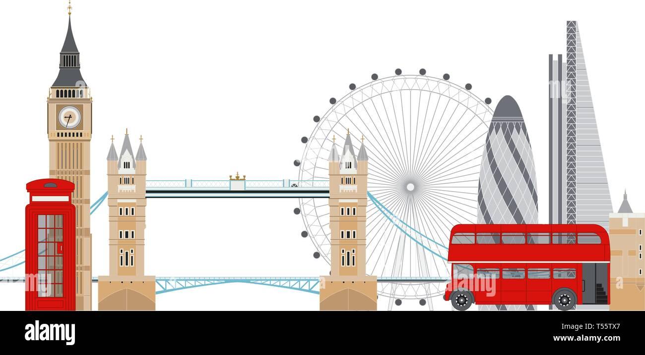 London skyline vector illustration. London famous sightseenigs - Stock Vector