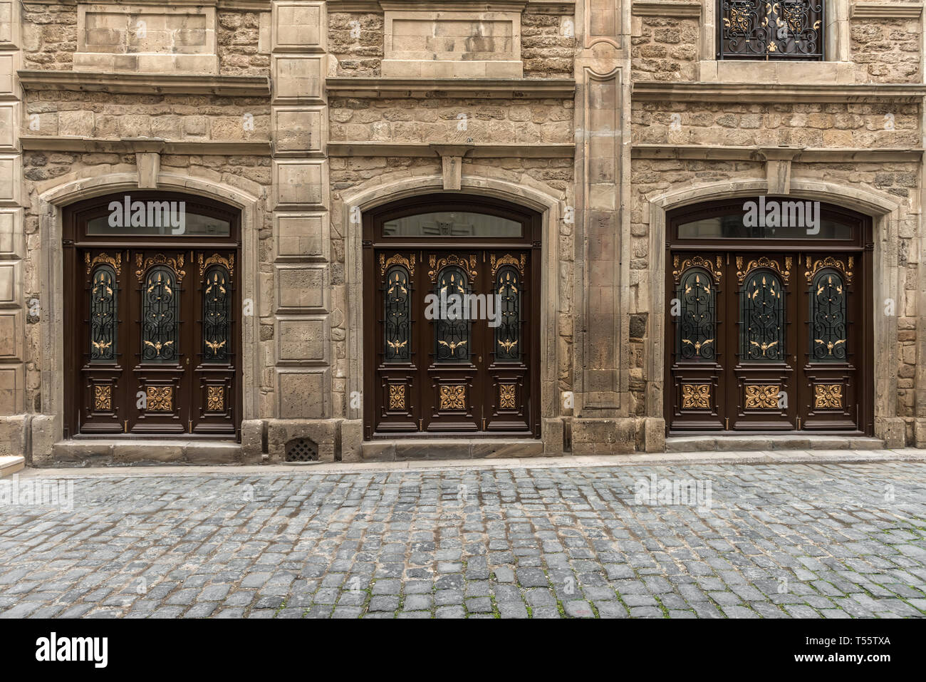 Ancient architectural doors in the old town - Stock Image