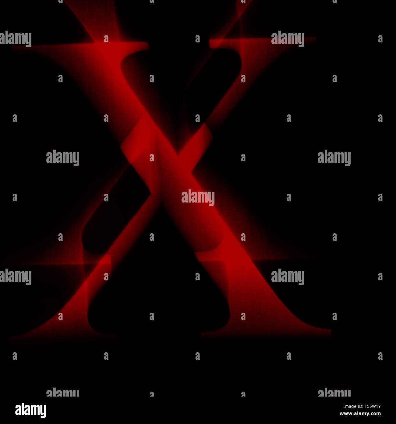 Illustration of red letter X's against black background - Stock Image